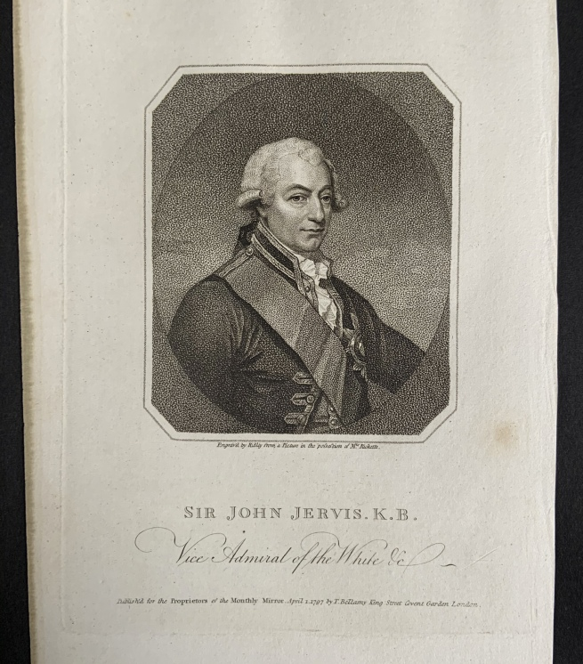 William Ridley (British, 1764-1838) 'Sir John Jervis. K.B., Vice Admiral of the White' April 1, 1797