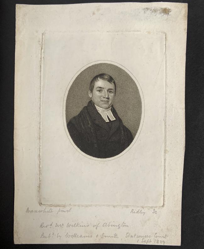 William Ridley (British, 1764-1838) 'Revd. Mr Wilkins of Abington' 1 Sept 1809
