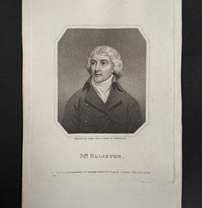 William Ridley (British, 1764-1838) 'Mr. Elliston' Oct. 1st, 1796