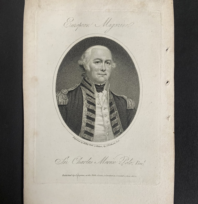 William Ridley (British, 1764-1838) 'Sir Charles Morice Pole, Bart' 1 June 1805