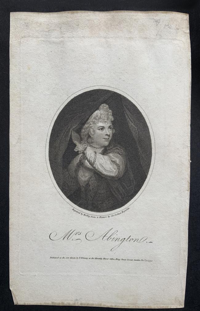 William Ridley (British, 1764-1838) 'Mrs Abington' Dec 30, 1797