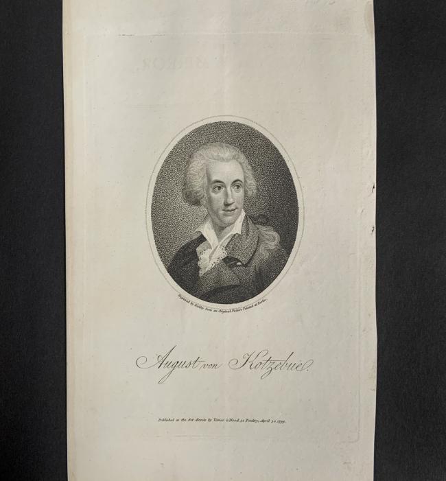 William Ridley (British, 1764-1838) 'August von Kotzebue' April 30, 1799