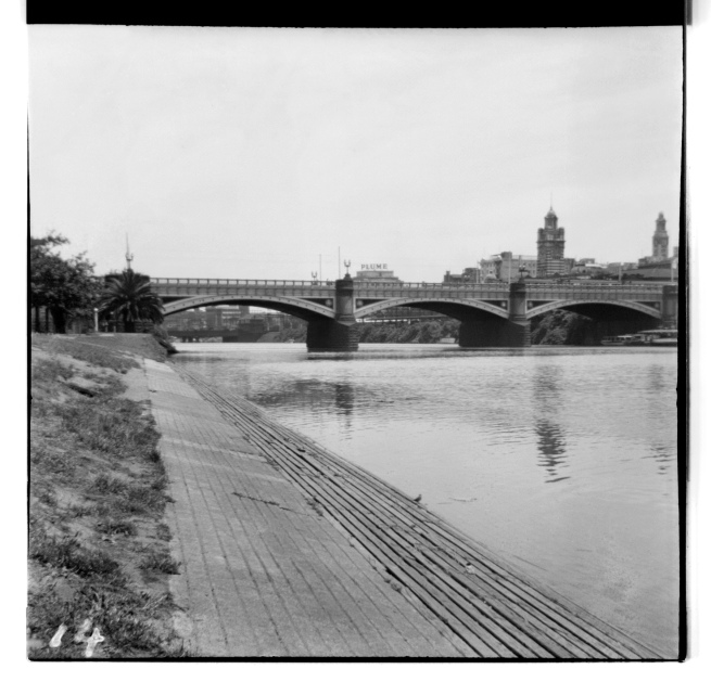 Unknown photographer (Australian) 'Untitled (Princes Bridge, Melbourne on the Yarra River with Flinders Street Railway Station to the right)' 1946-47