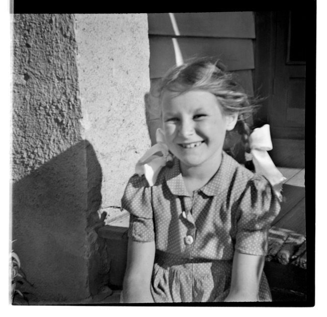 Unknown photographer (Australian) 'Untitled (Smiling girl with pigtails)' 1946-47