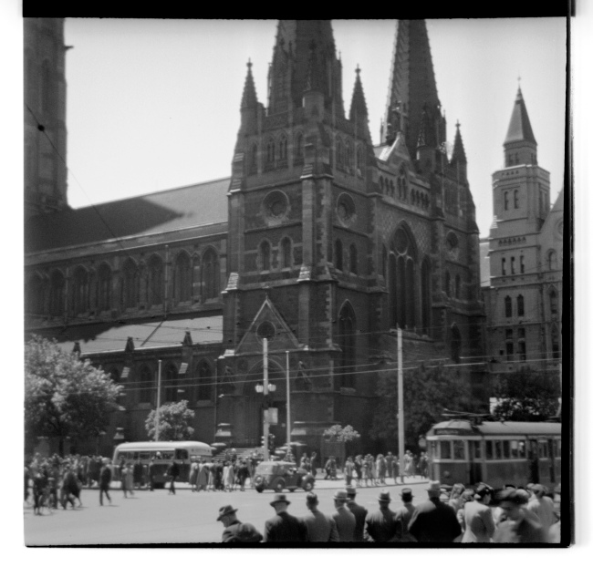 Unknown photographer (Australian) 'Untitled (St Paul's Cathedral, Melbourne looking from Flinders Street Railway Station)' 1946-47