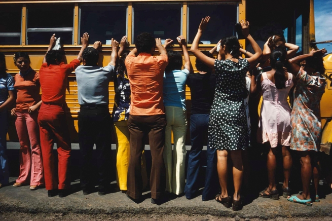 Susan Meiselas (American, b. 1948) 'Soldiers search bus passengers along the Northern Highway, El Salvador' 1980