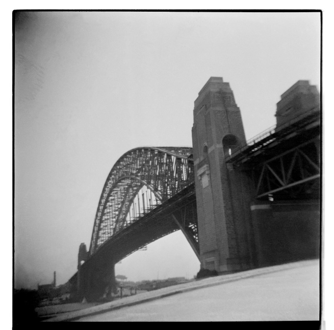 Unknown photographer (Australian) 'Untitled (Sydney Harbour Bridge, north looking south showing DC current power station stack to the left)' 1946-47