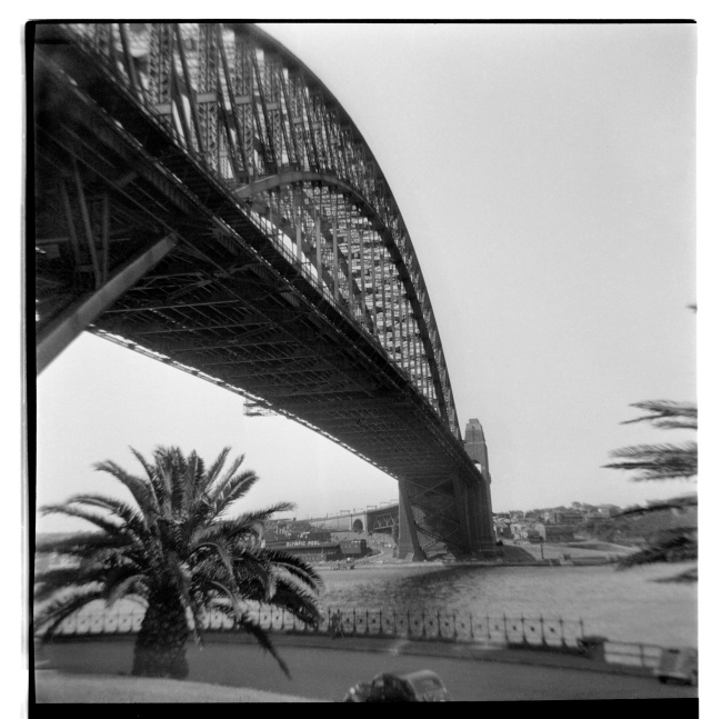 Unknown photographer (Australian) 'Untitled (Sydney Harbour Bridge, south looking north showing the North Sydney Olympic Pool in the background left)' 1946-47