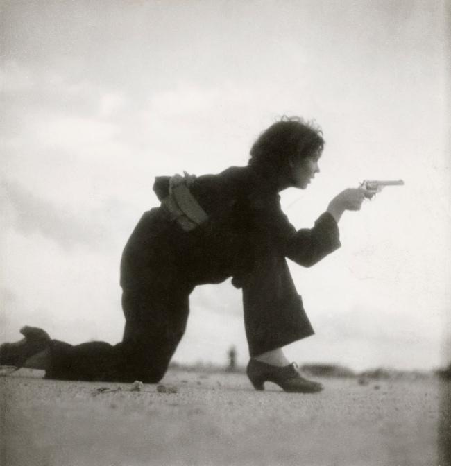 Gerda Taro (German, 1910-1937) 'Republican militiawoman training on the beach outside Barcelona, Spain' August 1936