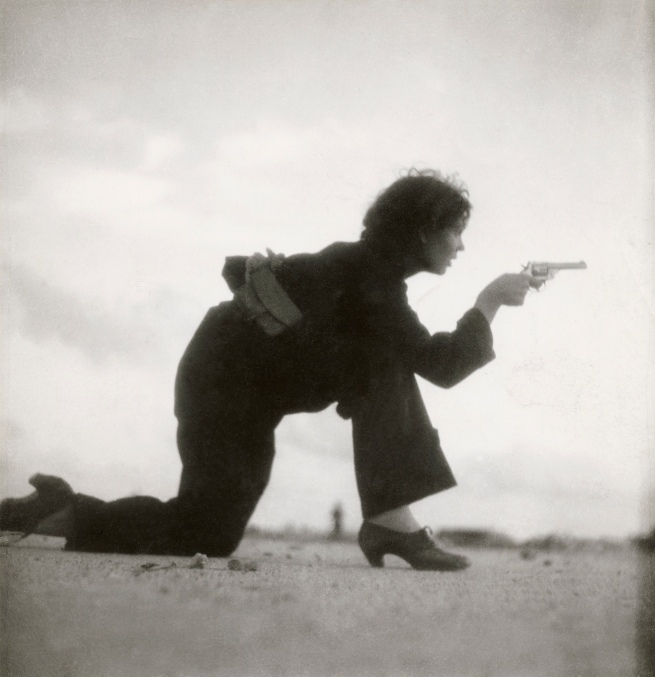 Gerda Taro (German, 1910-1937) 'Republican militiawoman training on the beach outside Barcelona, Spain' August 1936