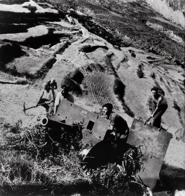 Gerda Taro (German, 1910-1937) 'Republican soldiers with artillery, Monte Aragon, east of Huesca, Spain' August 1936