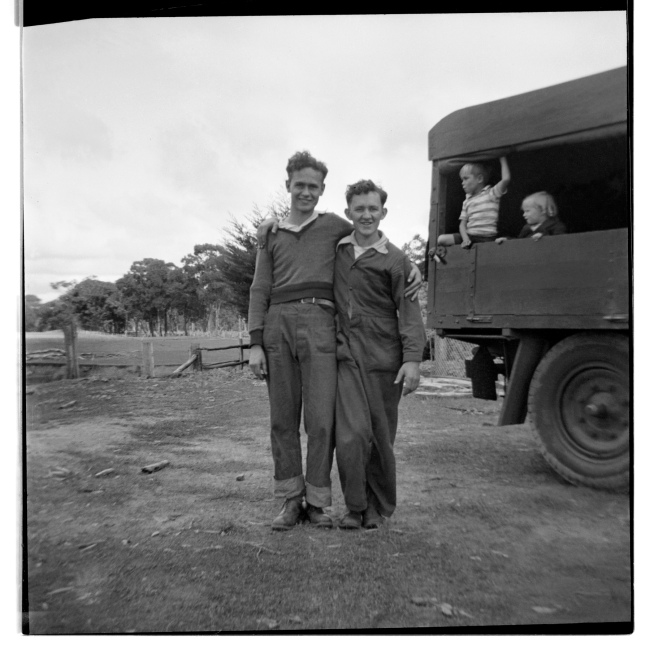 Unknown photographer (Australian) 'Untitled (Two lads and two children)' 1946-47