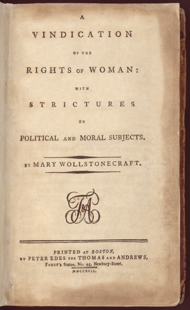 Mary Wollstonecraft. 'A Vindication of the Rights of Woman' title page 1792