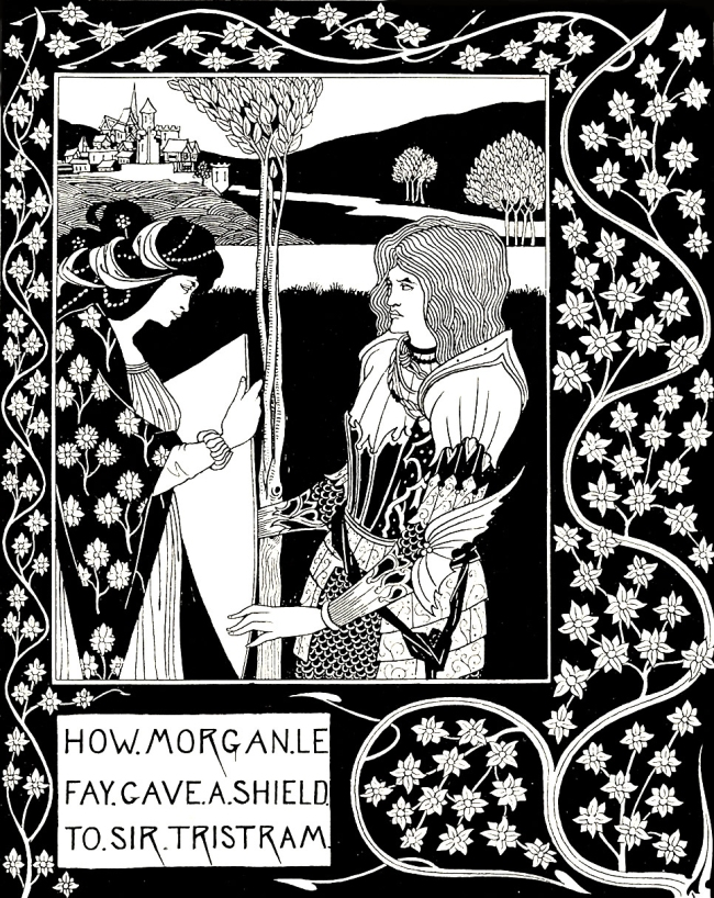 Aubrey Beardsley (British, 1872-98) 'How Morgan Le Fay Gave a Shield to Sir Tristram' 1893