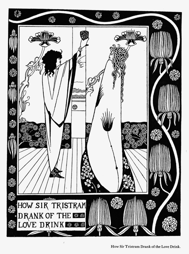 Aubrey Beardsley (British, 1872-98) 'How Sir Tristram Drank of the Love Drink' 1893