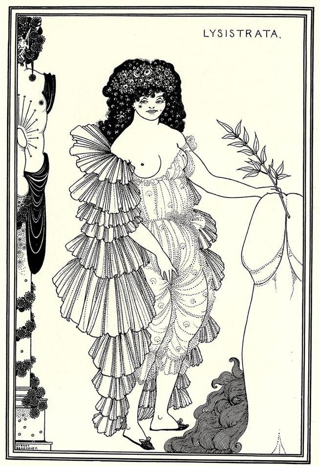 Aubrey Beardsley (British, 1872-1898) 'Lysistrata Shielding her Coynte' 1896