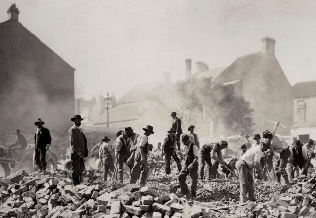 John Degotardi Jr. (Australian, 1860-1937) '105. Exeter Place demolished' 1900 (detail)