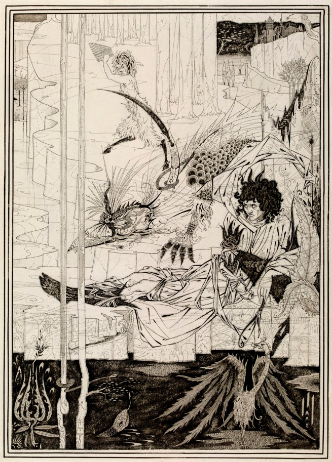 Aubrey Beardsley (British, 1872-98) 'How King Arthur saw the Questing Beast, and thereof had great marvel' 1893