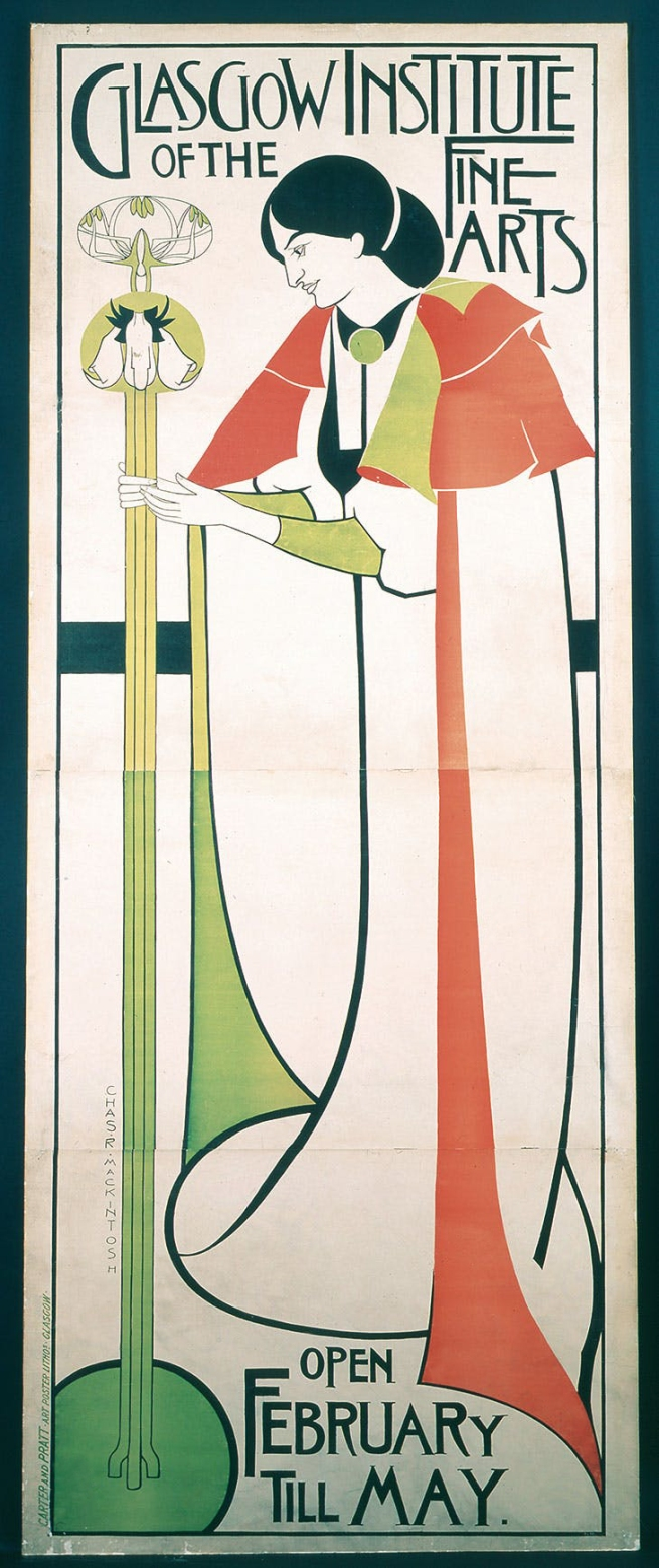 Charles Rennie Mackintosh (Scottish, 1868-1928) 'Poster for 'The Glasgow Institute of Fine Arts'' 1894-6