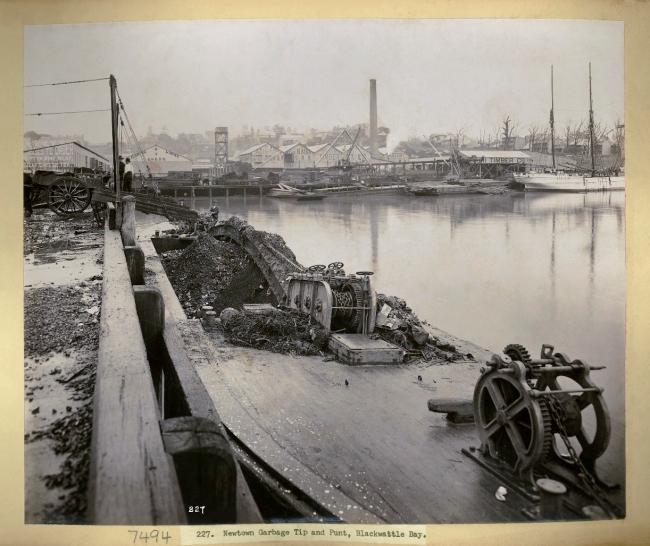 John Degotardi Jr. (Australian, 1860-1937) '227. Newtown Garbage Tip and Punt, Blackwattle Bay' 1900