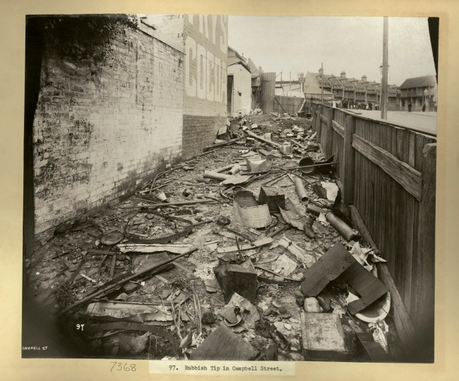John Degotardi Jr. (Australian, 1860-1937) '97. Rubbish tip in Campbell Street' 1900