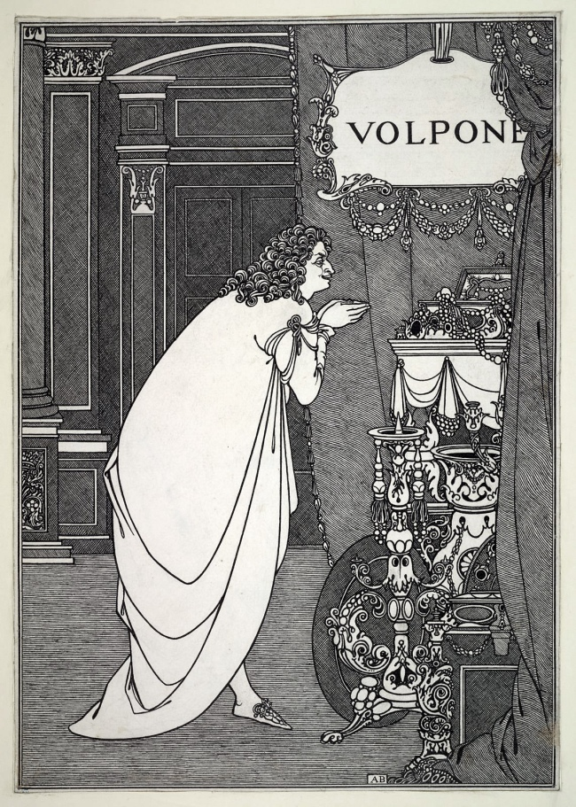 Aubrey Beardsley (British, 1872-1898) 'Volpone Adoring his Treasure' 1898