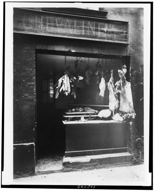 Eugène Atget (French, 1857-1927) 'Butcher's shop, Rue Christine' c. 1923