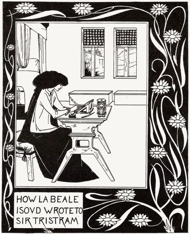 Aubrey Beardsley (British, 1872-98) 'How la Beale Isoud Wrote to Sir Tristram' c. 1893