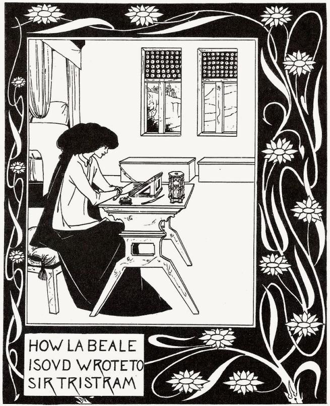 Aubrey Beardsley (British, 1872-98) 'How la Beale Isoud Wrote to Sir Tristram' c. 1893