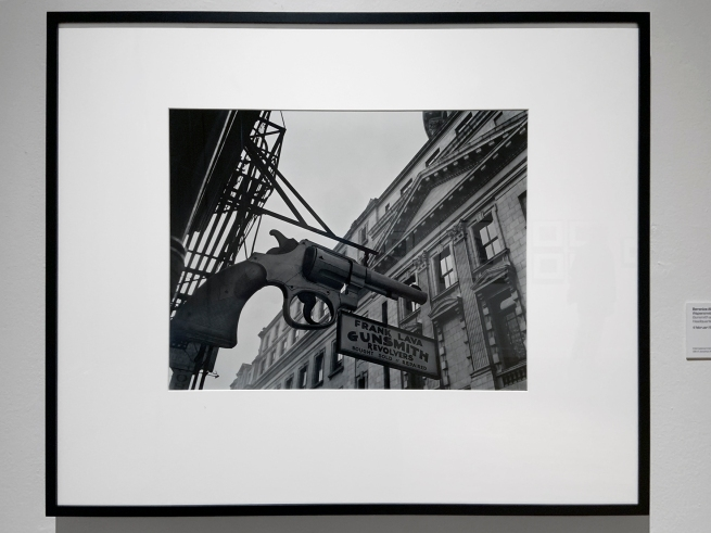Berenice Abbott (American, 1898-1991) 'Gunsmith and Police Department Headquarters'  February 4, 1937 (installation view)