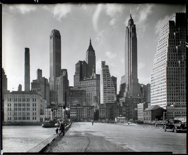 Berenice Abbott (American, 1898-1991) 'Manhattan Skyline: I. South Street and Jones Lane' 1936