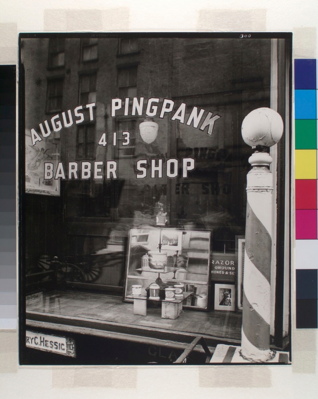Berenice Abbott (American, 1898-1991) 'Pingpank Barber Shop, 413 Bleecker Street, Manhattan' 1938