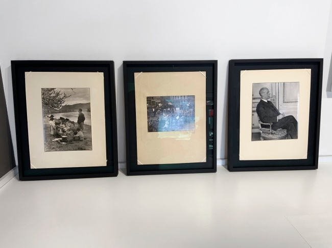 3 vintage prints, the left one with black edge floating free of the backboard; the second c .1920s of a Communist rally; and the third of an industrialist (Großindustrieller / The Industrialist, 1927)