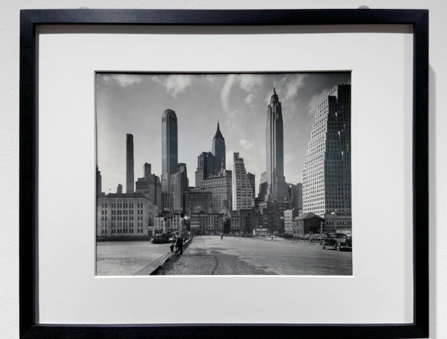 Berenice Abbott (American, 1898-1991) 'Manhattan Skyline: I. South Street and Jones Lane' 1936 (installation view)