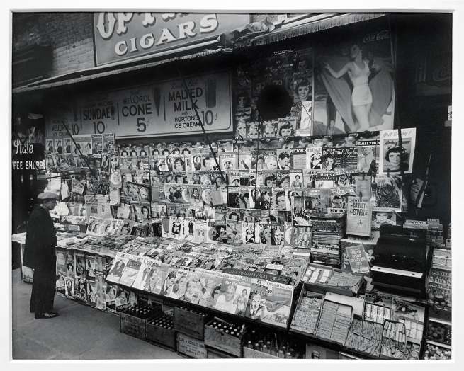 Berenice Abbott (American, 1898-1991) 'Newsstand, 32nd Street and 3rd Avenue, Manhattan' 1935 (installation view)