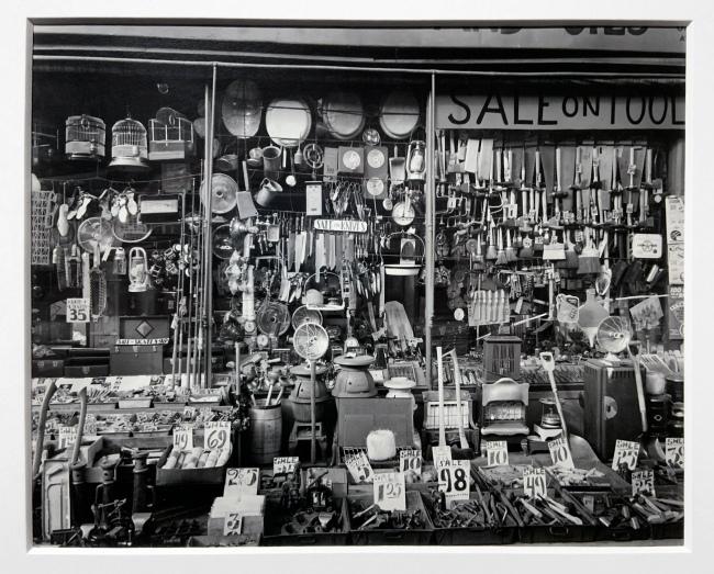 Berenice Abbott (American, 1898-1991) 'Hardware Store, 316-318 Bowery' 1938 (installation view)