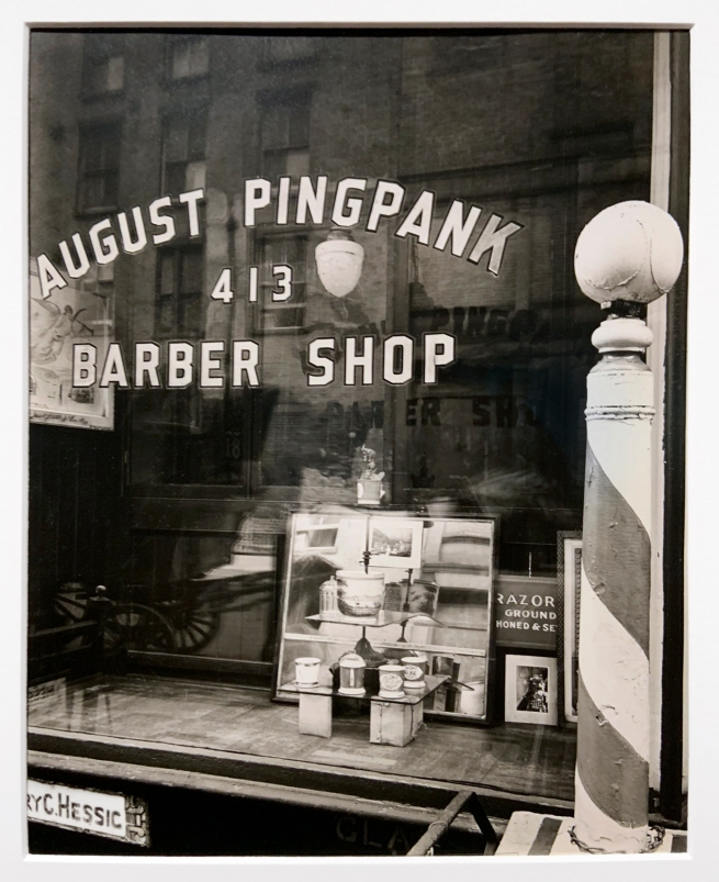 Berenice Abbott (American, 1898-1991) 'Pingpank Barber Shop, 413 Bleecker Street, Manhattan' 1938 (installation view)