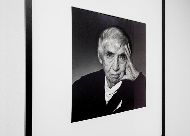 Yousuf Karsh (Armenian-Canadian, 1908-2002) 'Portrait of Berenice Abbott, Monson, Maine' August 1989 (installation view)