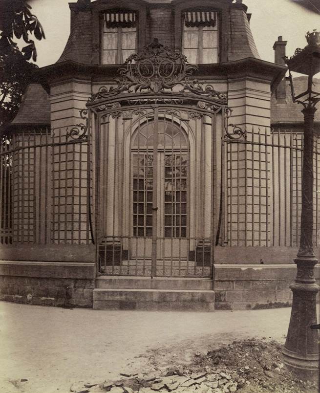 Eugène Atget (French, 1857-1927) 'Grille de l'ancien pavillon de chasse de Philippe-Égalité (Hospice Debrousse), 148 rue de Bagnolet. Paris 20' 1900