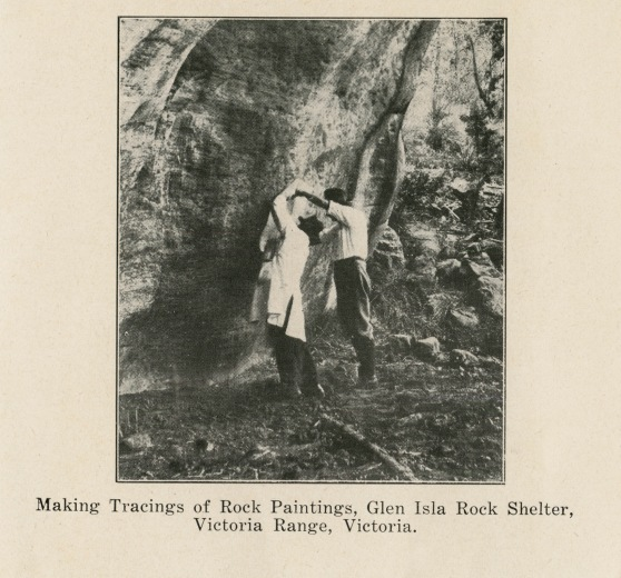 Making Tracings of Rock Paintings, Glen Isla Rock Shelter, Victoria Range, Victoria