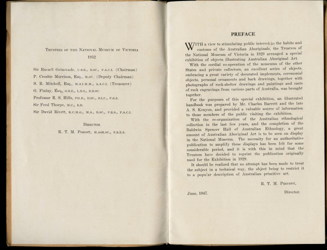 Preface of the pamphlet 'Australian Aboriginal Art' by Charles Barrett and A.S. Kenyon 1952