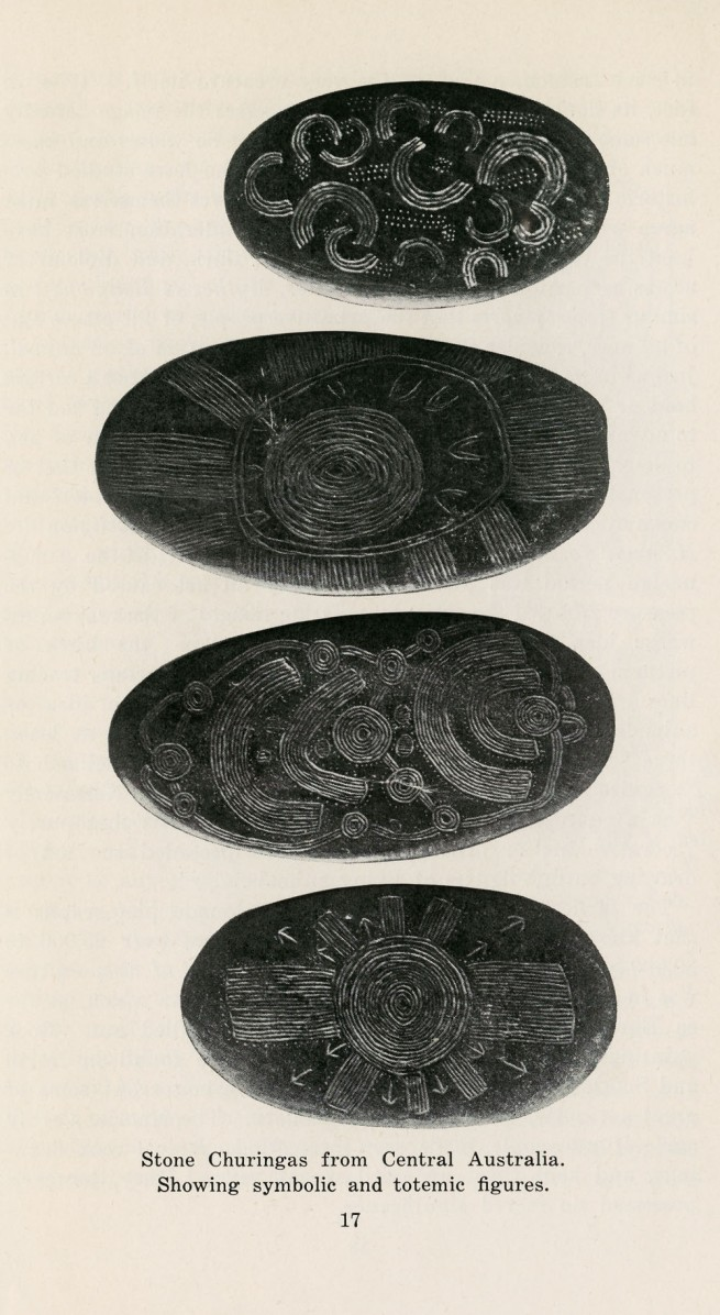 Stone Churingas from Central Australia. Showing symbolic and totemic figures