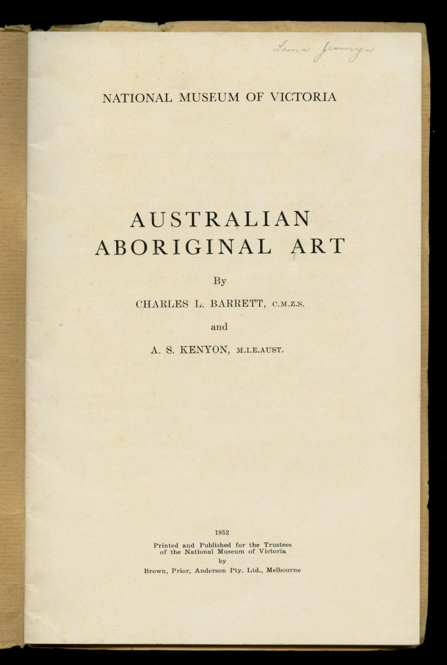Title page of the pamphlet 'Australian Aboriginal Art' by Charles Barrett and A.S. Kenyon 1952