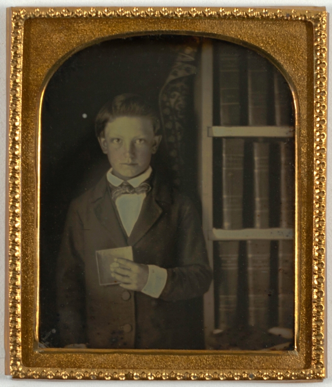 Unknown artist (American) '[Boy Holding a Daguerreotype]' 1850s