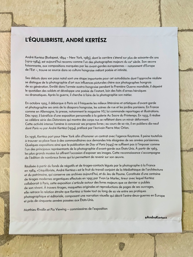 Entrance text to the exhibition 'L'equilibriste, André Kertész' at Jeu de Paume, Château de Tours
