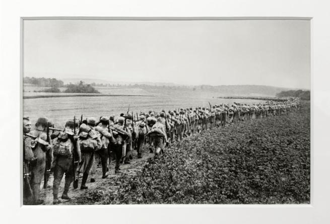 André Kertész (Hungarian, 1894-1985) 'Marche forcée vers le front, entre Lonié et Mitulen, Pologne' 'Forced march towards the front, between Lonie and Mitulen, Poland' 1915 (installation view)
