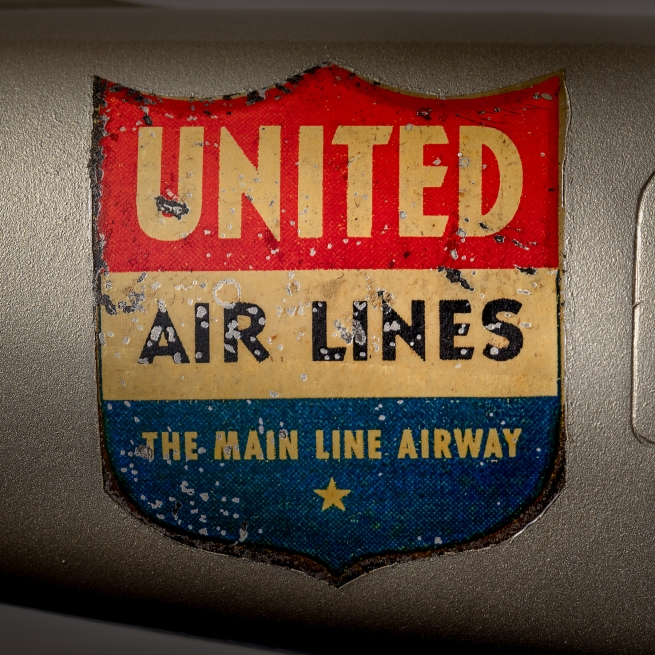 A.C. Rehberger Company, Chicago. 'United Air Lines Douglas DC-3 model aircraft (shield logo detail)' c. 1937