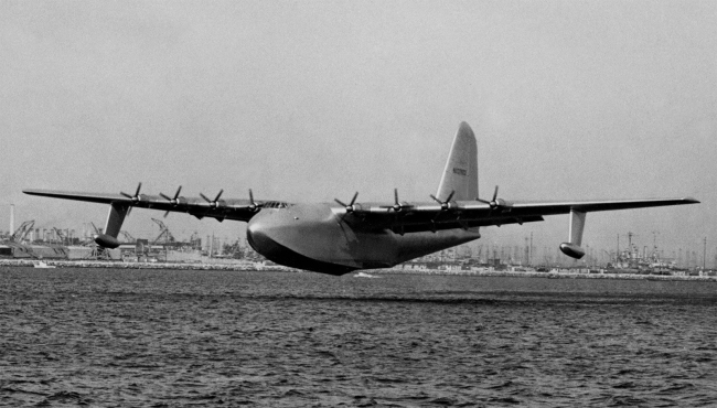 """'H-4 Hercules """"Spruce Goose"""" on its only flight' November 2, 1947"""