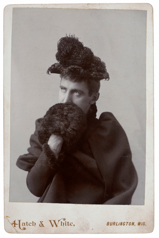 Hatch and White, Burlington, WI. '[Man in woman's clothing]' c. 1891