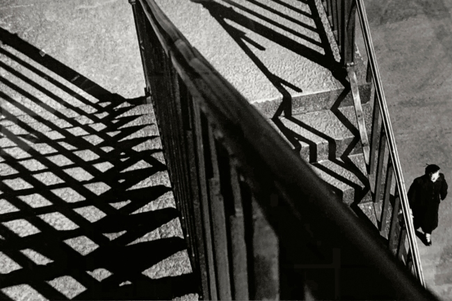 André Kertész (Hungarian, 1894-1985) Escalier, rampe, ombres et femme, New York (installation view) 'Staircase, banister, shadows and woman, New York' 1951 (installation view)